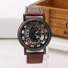 Mens skeleton watch stainless steel and leather quartz wristwatch