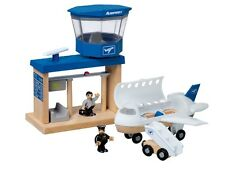 Wooden Toys Airport Plane Remote Control Airplane Pilot 18 Pieces