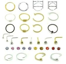 Sterling Silver Nose Ring Stud Hoop Ear Cartilage Tragus Thin Small Tiny Gem