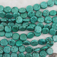 """Coin Green Howlite Turquoise Beads Loose Gemstone Beads for Jewelry Making 15"""""""