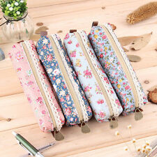 Girls Flower Lace Floral Pencil Case Pen Bag Purse Cosmetic Makeup Pouch Bag OU