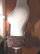 FOSSIL SMALL CROSS BODY BAG BROWN GENUINE LEATHER/ FABRIC MINT! ROOMY!