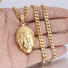 18-36'' Mens Boys Silver/Gold 316L Stainless Steel Buddha PENDANT Necklace Gift
