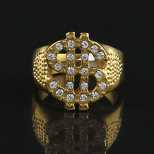 USD Dollar Money Rhinestone Plating Stainless Steel Hip Hop Style Ring US 8-11