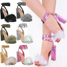 Womens Ladies Fluffy Faux Fur High Heels Ankle Strappy Party Sandals Shoes Size