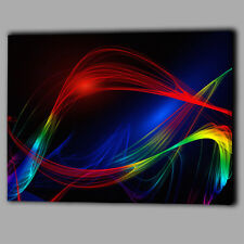 Abstract Wave Pattern Multi Colour Canvas Wall Art Print Framed A1 Large Picture