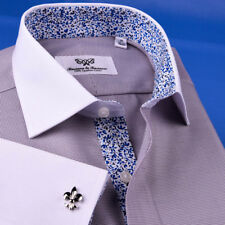 Gray Formal Business Dress Shirt Contrast Collar French Cuff Blue Paisley Floral