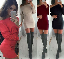 Women's Sexy Bat Sleeve Off Shoulder Slim Casual MiNi Package Hip Dresses Party