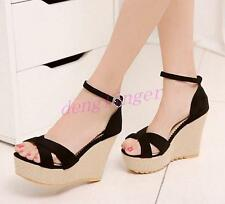 New Womens Faux SUede Wedge High Heels Platform Ankle Strap Pumps Shoes Black