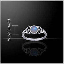 CELTIC DOUBLE TRIQUETRA / INFINITY KNOT Ring Sterling Silver Rainbow Moonstone