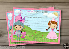 1-10 PERSONALISED PRINCESS & KNIGHT BIRTHDAY PARTY INVITATIONS,THANK YOU CARDS