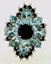 Stunning Genuine Blue Topaz & Sapphire Ring 925 SS Sterling Silver  7.10 Carats