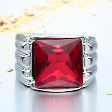 Huge 5Ct Natural Ruby 925 Silver Women Wedding Engagement Ring Size 6-10 Bridal