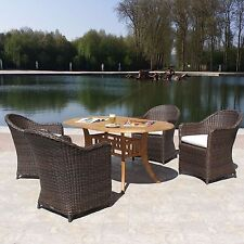 Kota Outdoor Resin Wicker & Teak 5 Piece Dining Set Choice of Sunbrella Fabrics