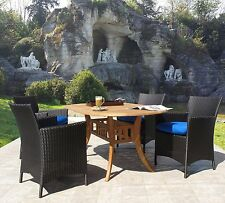 Hudson Outdoor Resin Wicker & Teak 5 Piece Dining Set Choice of Sunbrella Fabric