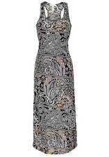 NEW Ambience Apparel Ladies Monotones Paisley Print Sleeveless Fitted Maxi Dress