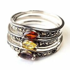 (SIZE 7)  3 STACK RINGS: Amethyst Garnet Citrine Marcasite .925 STERLING SILVER