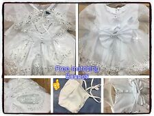 New Baby Girls Christening/Baptism Dress White Bow  Sizes XS-XL Image Guadalupe