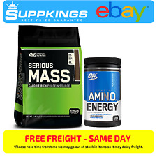 SERIOUS MASS 12lb PROTEIN POWDER BY OPTIMUM NUTRITION + AMINO ENERGY 30 SERVE
