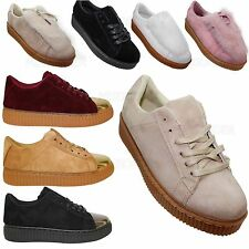 LADIES WOMENS CREEPER TRAINERS WEDGE LACE UP PLATFORM FASION SHOES SIZE