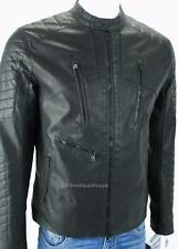 Armani Exchange A X Mens Moto Faux Leather Zip Quilted Padded Jacket Coat NWT