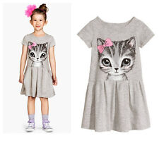 Fashion Cute Baby Girl Clothes Summer Dress Cat Print Weding Shirt Dress T-shirt