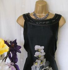 """MONSOON PRE-OWNED """"ORCHID BLACK"""" MAXI  DRESS SIZE 10"""