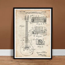 GIBSON LES PAUL GUITAR 1955 US PATENT PRINT POSTER VINTAGE MCCARTY ELECTRIC