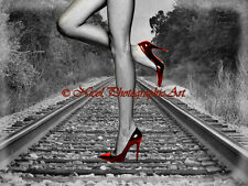 Endless Rails Red Shoes Railroad Signed Handmade Matted Picture Art Print A821