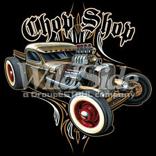 Chop Shop Hot Rat Rod Classic Old School Car Auto Racing Lovers T-Shirt Tee