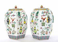 2 Early 20C Chinese Relief Famille Rose Porcelain Cov Vase Scholar Censer Tree