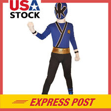 Kids Blue Power Rangers costume Samurai cosplay child Halloween zentai Bodysuit