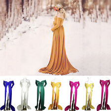 Stretch Cotton Gown Maternity Maxi Wedding Party Dresses Photography Large Size