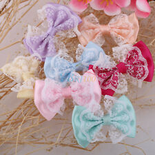 50Pc Colorful Cute Lace Fabric Bow DIY Appliques/Sewing/Craft/Wedding Decoration