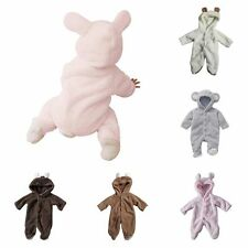 Lovely Infant Kids Boys Girls Coral Fleece Long Sleeve Hoodies Jumpsuit Outfits