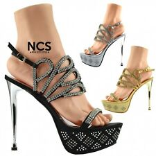 Women's Heels Wedding Party Strappy Sandals Platform Bridal Stiletto Shoes Size