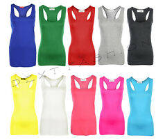 NEW LADIES SLEEVELESS RACER MUSCLE BACK BODY-CON  TOP GYM YOGA VEST PLUS 8 - 26