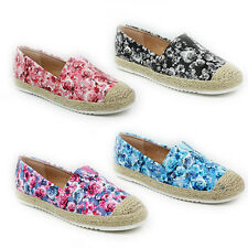 WOMENS LADIES FLAT CASUAL SLIP ON FLORAL WEAVE EPADRILLES PUMPS SHOES SIZE 3-8