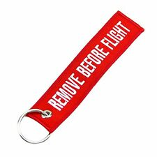 Remove Before Flight Canvas Luggage Tag Label Keyring Keychain