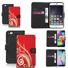 faux leather wallet case for many Mobile phones - red swirling tweed