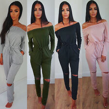 Women Long Sleeve Party Jumpsuit Sexy Strapless Pants Romper Playsuit Clubwear