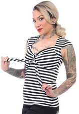 STEADY STRIPED SWEETHEART TIE TOP RS8770B/W pinup rockabilly retro vintage punk