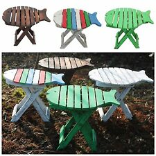 Folding Fish Shaped Stool - Wooden Small Childrens Garden Outdoor Indoor Chair