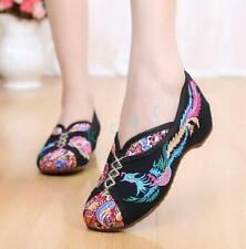 Chinese Style Womens Ladies Breathable Embroidery Canvas Causal Slip On Shoes