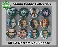 Doctor Who 56mm Badges All 12 doctors Choose your Favourite Dr Who  FREEPOST