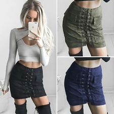 Sexy Vintage High Waist Slim Pocket Bandage Lace up Stretch Mini Women's Skirt