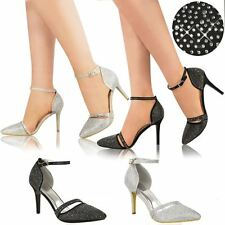 New Womens Ladies Bridal Evening Shoes Wedding Prom Party High Heel Sandals Size