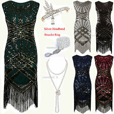 1920s Flapper Dress  20s 30s Roaring Sequin Tassel Ladies Party Cocktail Costume