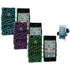 For iPhone 4 4S Electroplated Floral Flower Luxury Case Cover+Windshield Mount