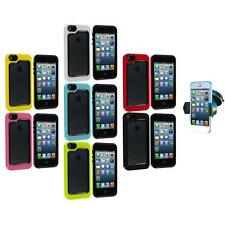 For iPhone 5 5S Hybrid Hard TPU 2-Piece Frame Bumper Case Cover+Car Mount